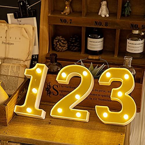 Número Luz Signo 1 2 3 LED Signo Marquesina Letras Noche Luces Alfabeto Iluminación Lámpara para Boda Cumpleaños Fiesta Navidad Hogar Bar Decoración de Pared