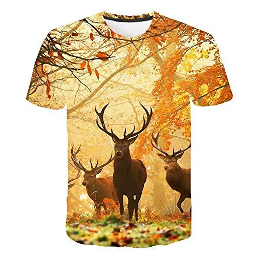 GJCDGPZTX 3D T-Shirt Animal Style Cerf Mignon Naturel Hommes Femmes T-Shirts Drôle De Bande Dessinée 3D Imprimer Crewneck Casual Tee Shirts