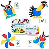 Tangram Madera Montessori Puzzle de Madera Rompecabezas de Patrones para Juegos de clasificación y apilamiento, Juguetes educativos Regalos para niños pequeños Niños Niñas (Blanco)