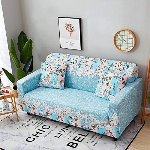 Estiramiento Funda de sofá 1 Plazas 1 Pieza Antideslizante Fundas Impresa para Sofas Sofás Cubre Sofá Ajustable Protector de Muebles 2 Fundas de Almohada Flores Blancas Azules