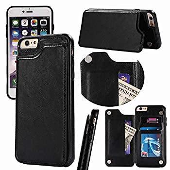 iPhone 6s Wallet Case with Card Holder,iPhone 6 Case Wallet for Women Girls Men,i-Dawn Compatible with iPhone 6S Cute Case Slim Fit Premium Leather Cover with Stand,Durable and Slim,Card Slots -Black