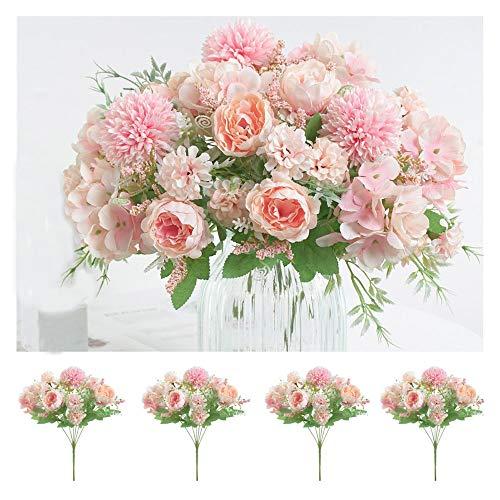 Flores Artificiales, peonía, crisantemo Bola, Clavel, Hortensia, arreglo Floral, decoración Floral, Ramos de Boda,Rosa