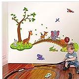 TOSSPER Enfants Paroi Sticker Animal Crossing Pont Fond D'écran Kindergarten Décoration Fond Auto-adhésif Mural Étanche