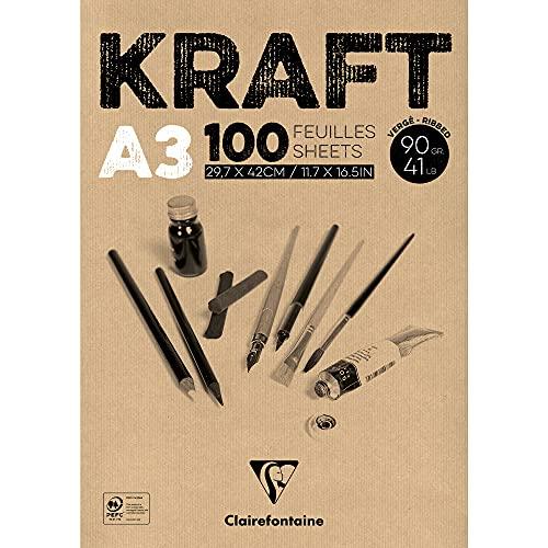 Clairefontaine 96546C Kraftpapier Block (geleimt, ideal für Trockentechniken, 100 Blatt, DIN A3, 29,7 x 42 cm, 90 g) braun