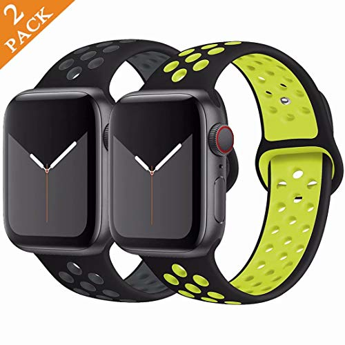 GBPOOT Sport Watch Band Compatible with Apple Watch Band 38mm 40mm 42mm 44mm,Soft Silicone Wristband for Iwatch Series 5,Series 4,Series 3,Series 2,Series 1,2pack