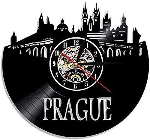 TIANZly Praga Reloj de Pared República Checa City LP Light Modern LED Backlight C
