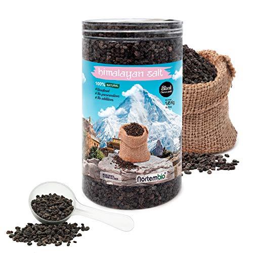 Nortembio Schwarze Himalaya-Salz 1,45 Kg. Grob (2-5 mm). 100% Natürlich. Unraffiniert. Ohne Konservierungsstoffe. Von Hand extrahiert. Aus Punjab Pakistan. Premium-Qualität.