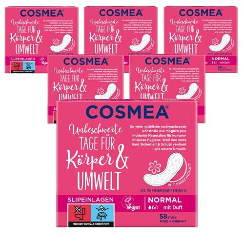 Cosmea Slipeinlagen Normal Mit Frischeduft, Vorteilspack (5 x 58 Stk). Hygiene-Einlagen aus nachwachsenden Rohstoffen. Damen-Hygiene im Einklang mit der Natur