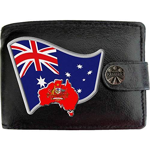 Australien Australisch Flagge Karte Wappen Bild auf KLASSEK Marken Herren Geldbörse Portemonnaie Echtes Leder RFID Schutz mit Münzfach Zubehör Geschenk mit Metall Box