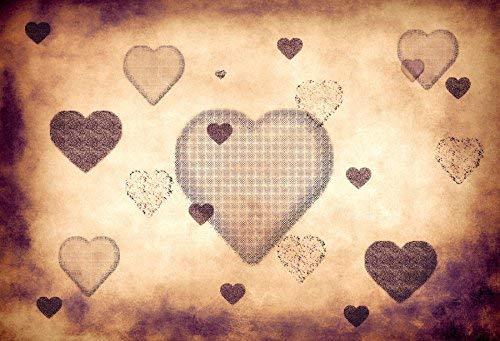 EdCott Fondo diseño corazón 10x6.5ft Fondo fotografía Vinilo Fondo Pantalla Vintage Corazones Textura Retro Día San Valentín Fotografía Amantes Arte Mujer Adulta Fotos Video Studio Props