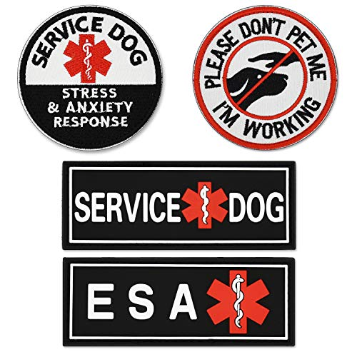 ELUTONG Dog Patches 2 Pack Service Dog Reflective Light in The Dark - Ask to Pet Tags for Hook and Loop Patches Vests and Harnesses for Dogs, Puppy,Pets PVC+Don't Pet Me+Service Dog(Round)