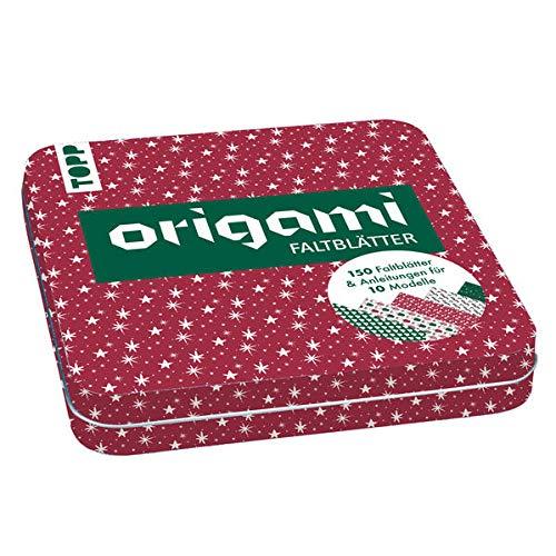 Weihnachtliche Origami Faltblätter mit Designdose: 150 Faltblätter (15x15 cm, 80 g/m²) in 5 weihnachtlichen Designs mit Anleitungen für 10 Modelle