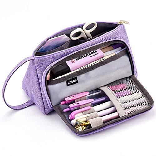 Estuche de Lápices, YAMI Gran Capacidad Estuche para Bolígrafos Estuche de Maquillaje Organizador de Almacenamiento de Artículos de Papelería con asa para útiles Escolares y Oficina Mujer(Púrpura)