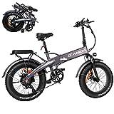 KAISDA K2 Fat Bike 500W Bicicleta Eléctrica Plegable de 20 Pulgadas 48V 10AH Batería con Faros superbrillantes Neumático de Bicicleta eléctrica 20 * 4.0 Shimano 7 velocidades conLCD