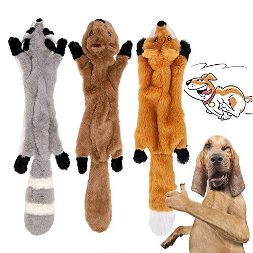YAMI 3 Pack Dog Squeaky Chew Toys No Stuffing Dog Toys Plush Dog Toys for...