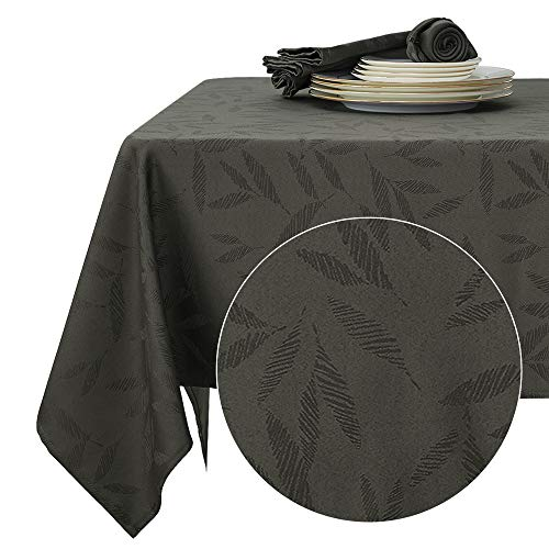 Deconovo Tovaglia Cerata Rettangolare Impermeabile in Tessuto con Motivo bambù per Tavola 137x274cm Grigio