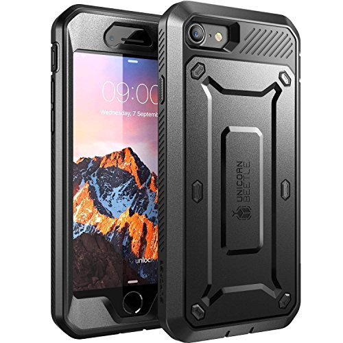 SUPCASE Unicorn Beetle Pro Series Case Designed for iPhone 7, iPhone 8, Full-body Rugged Holster Case with Built-in Screen Protector for Apple iPhone 7 2016 / iPhone 8 2017 (Black)