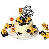 11-pieces mini construction vehicles Cake Decoration Set truck cake toppers construction birthday party supplies 6 PCS Construction Trucks Toys 5 Pieces Road Sign decorations