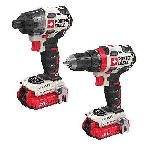 PORTER-CABLE 20V MAX Cordless Drill Combo Kit, Brushless, 2-Tool (PCCK619L2)