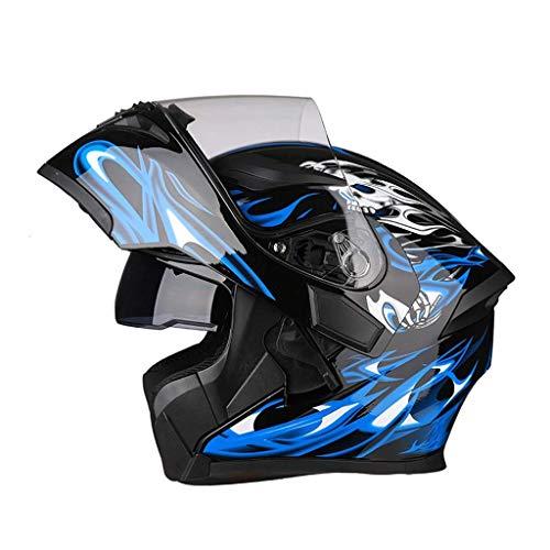 YINUO-Casque Batterie électrique Casque de moto Casque intégral intégral Four Seasons pour hommes Casque de protection intégral, hiver chaud (Color : 1)