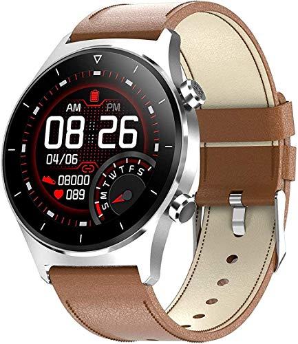 Reloj inteligente con monitor de ritmo cardíaco y presión arterial, rastreador de fitness, medidor de saturación de oxígeno, pantalla táctil impermeable, 9 modos deportivos, color marrón