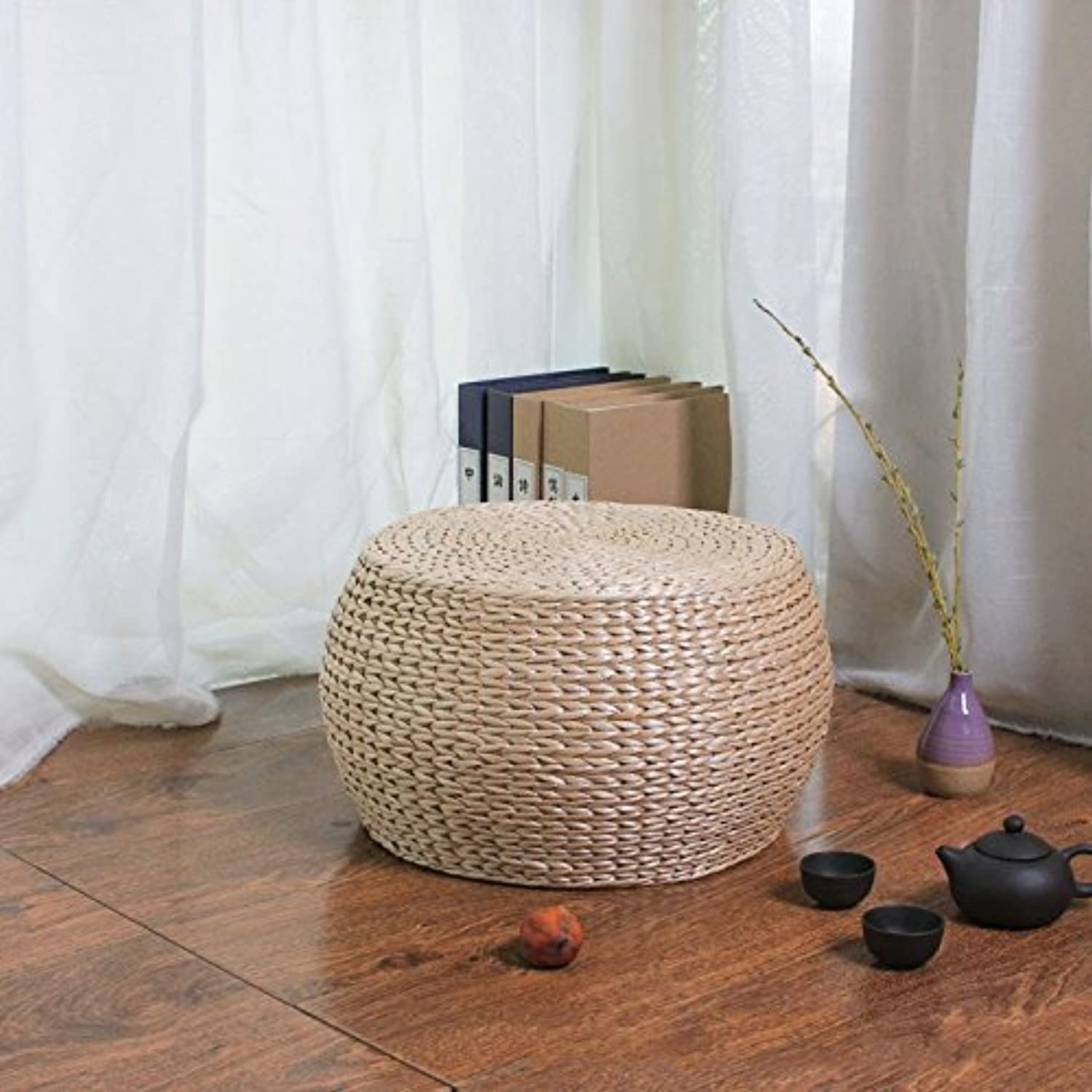 Dana Carrie Straw admitted that idyllic rattan Straw admitted stool solid wood shelf pin again in other shoes that can be used as a seat round stool ,3230CM