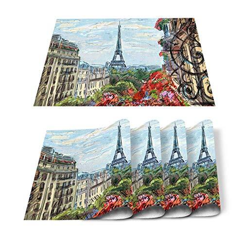 Juego de 6 manteles individuales, diseño de torre de Francia, París, cielo azul y nubes blancas, pintura abstracta, resistente al calor, lavable y plegable