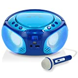 Lenco SCD-650 - Kinder CD-Player - CD-Radio - Karaoke Player - Stereoanlage - Boombox - CD/MP3 und USB Player - 2 x 2 W RMS-Leistung - Sing-A-Long Funktion - Mikrofon - Blau