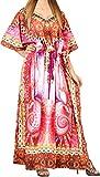 LA LEELA Mujeres caftán túnica 3D HD Impreso Kimono Libre tamaño Largo Abaya Vestido Jalabiyas de Fiesta para Loungewear Ropa de Dormir Playa Todos los días Cubrir Vestidos Multicolor_V549
