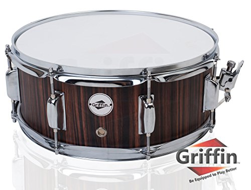 Snare Drum by Griffin   Black Hickory PVC Glossy Finish on Poplar Wood Shell 14'...