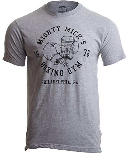 Mighty Mick's Boxing Gym 1976 | Philadelphia Boxer Vintage Style Gloves T-Shirt-(Adult,M) Sport Grey