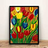 Tulipanes Maud Lewis Decoración para el hogar Lienzo Arte de la pared Pinturas impresas Decoración vintage Decoraciones de pared para la decoración de la sala de estar 40x50cm 16 'x20' (sin marco)