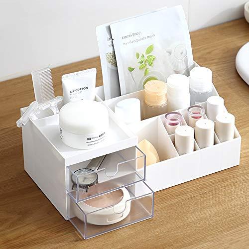 LACKINGONE Kosmetik Organizer Make-up Organizer Multifunktionale Aufbewahrungsbox Beauty Organizer Schminkaufbewahrung aus Kunststoff für Kosmetik, Badregal, Tiscchplattte, Schlafzimmer (weiß)