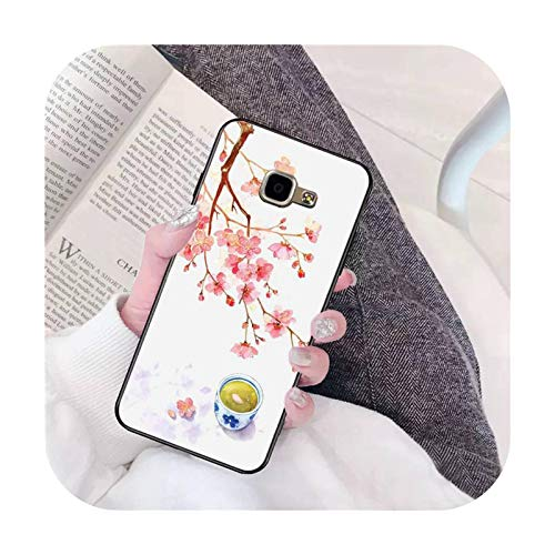 BSbattle Dibujo flor de cerezo funda para teléfono Samsung A6 A8 Plus A7 A9 A20 A20S A30 A30S A40 A50 A70-a4-Para A9 2018 A9S