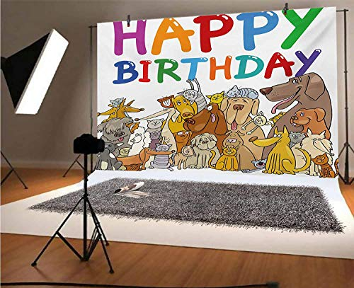 Kids Birthday 10x8 FT Vinyl Photography Background Backdrops,Multicolored Cartoon Streets Dogs Cats Animals Party Themed Quote Fun Print Background for Graduation Prom Dance Decor Photo Booth Studio P