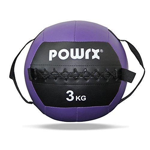 POWRX Medizinball inkl. Griff Band I Fitnessball Wall Ball 1-8 kg I Robuster Medizin Fitnessball 3 kg