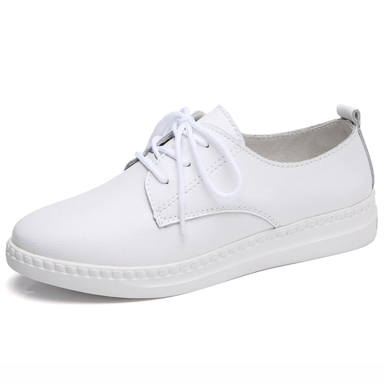 バラバラにする開業医利得HWF レディースシューズ サマーガールズカレッジレース学生カジュアルレザーシューズ女性の靴 ( 色 : 白 , サイズ さいず : 38 )