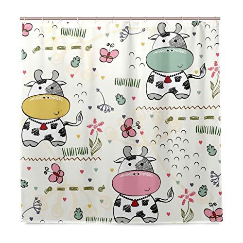 FAJRO Süße Baby Kuh Polyester Duschvorhang, maschinenwaschbar, Badezimmer Duschvorhänge, antibakteriell für Duschstall, Badewannen 183 x 183 cm
