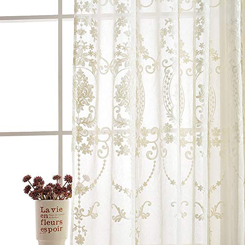 Slow Soul 2 Panels White European Style Sheer Curtain Embroidered Window Curtains Europe Floral Tulle for Living Room Bedroom with Rod Pocket White 54W X 84L inch