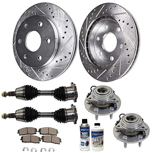 Detroit Axle - Replacement for Chevy GMC Cadillac Suburban Sierra 1500 Tahoe Yukon (4x4/AWD) Front Drilled Slotted Brake Rotors Ceramic Pad CV Axle Drive Shaft Wheel Bearing & Hub Assembly - 10pc Set