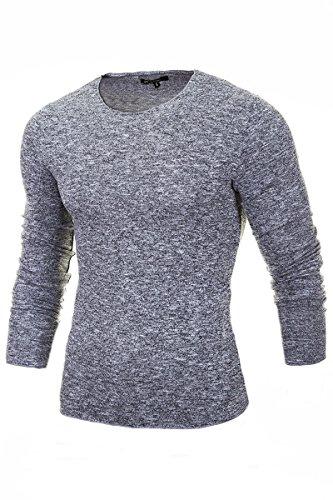MERISH Pullover Herren Strickpullover Slim-Fit Roundneck Hoodie Shirt Sweatshirt Modell 306 Hellgrau M