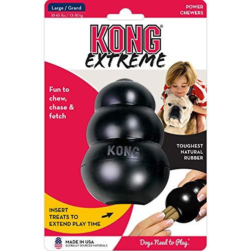 KONG - Extreme - Juguete de Robusto Caucho Natural Negro - para morder, perseguir o Buscar - para Perros Grandes