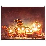 Nexos LED Wandbild Leinwandbild mit Beleuchtung Fotodruck Happy Halloween 30 x 40 cm Kunstdruck Leuchtbild Herbst Halloweenparty 8 LED Kürbis