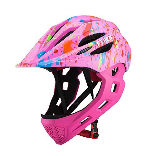 CCFCF Fullface-Helm Für Kinder, Kinderhelm Mit Kinnschutz, Fahrradhelm Für Mädchen Und Jungen Im Alter Von 3-13 Jahren, Passt Kopfgröße 43-54CM,K