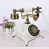 TBVECHI Retro Rotary Phone Vintage Phone Rotary Dial Telephone Old Fashioned Landline Phone European Style Decoration Cafe Bar Window Home Desk Office (White)