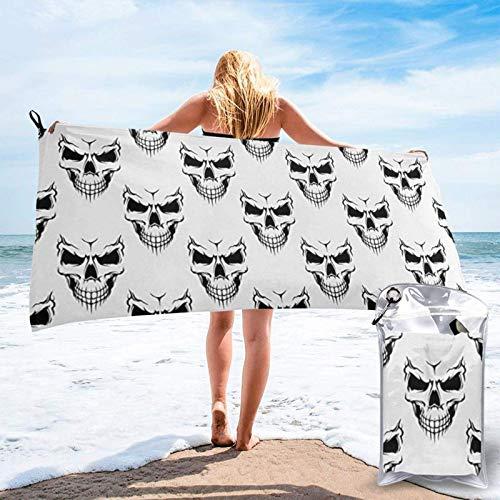 Lawenp Toalla de Playa de Secado rápido, Cabeza de Esqueleto monocromática con Tema de Halloween, Microfibra Estampada, Toallas de baño Ligeras, súper absorbentes para niños y Adultos, 27.5 'X55'