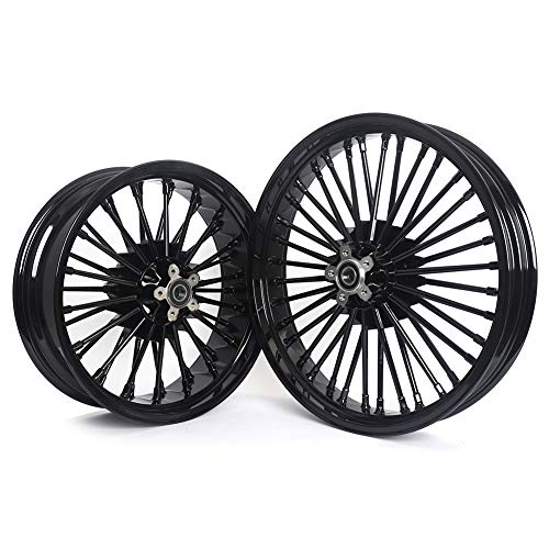 TARAZON 21x3.5 18x5.5 Fat Spoke Front Rear Wheels for Harley SOFTAIL DYNA SPORTSTER TOURING SINGLE DISC, 25MM Bearing