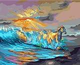 Foto enmarcada del caballo por pintura digital de bricolaje, pintura al óleo sobre lienzo de bricolaje, arte de pared de decoración del hogar