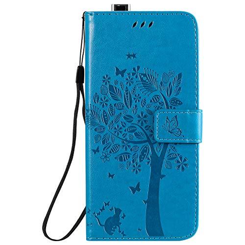 Fatcatparadise Funda para Xiaomi Redmi K30 Pro [con Protector Pantalla], Relieve Dibujo Carcasa de Tipo Libro con Ranuras para Tarjetas de Soporte y Solapa Cubierta Carcasa Case (Azul)