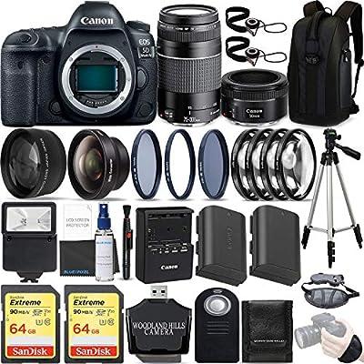 Canon EOS 5D Mark IV 30.4 MP DSLR Full Frame Camera Body with EF 50mm F1.8 STM Lens + EF 75-300mm F4-5.6 III Lens Kit Ultimate Travel Bundle from Blue Pixel